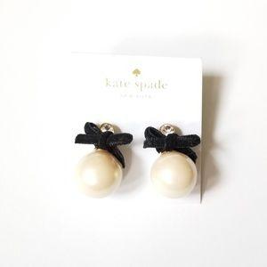 Kate Spade pearl velvet bow earrings
